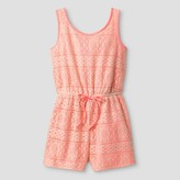 LILT Girls' Lilt Sleeveless All-over Crochet Romper with Coral Lining - Coral/Ivory