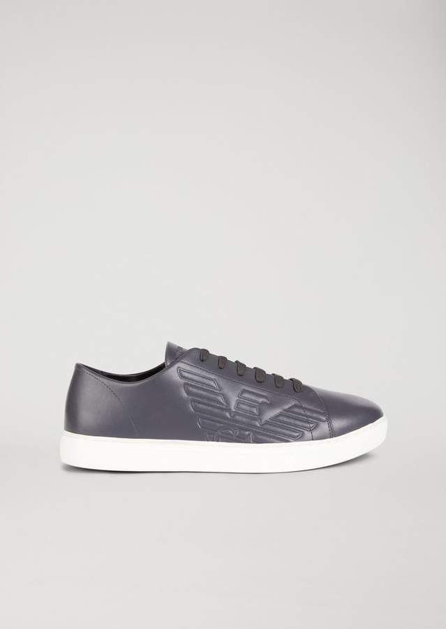 Emporio Armani Nappa Sneakers With Debossed Logo