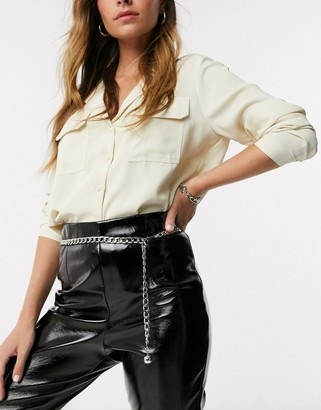 Asos DESIGN single chain waist and hip belt in silver