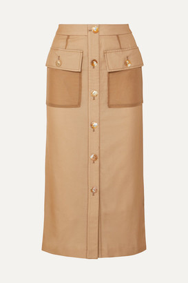 REJINA PYO Lily Button-detailed Cotton And Linen-blend And Chiffon Midi Skirt - Beige