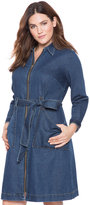ELOQUII Plus Size Zip Front Denim Dress with Tie