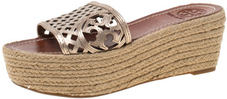 Tory Burch Bronze Leather Thatched Platform Wedge Sandals Size 36.5