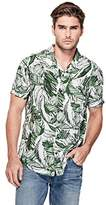 GUESS Men's Short Sleeve Palm Marker Print Shirt