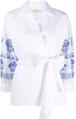 Max Mara Embroidered Blouson Sleeve Blouse