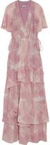 Tiered silk-chiffon maxi dress