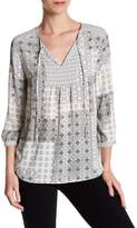 NYDJ Patchwork Mosaic Print Split Neck Blouse