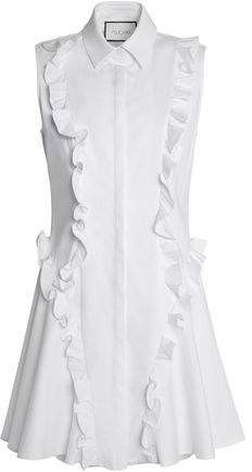 Alexis Ruffle-Trimmed Cotton-Poplin Mini Dress