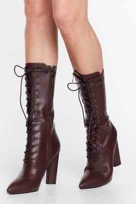 Nasty Gal Womens Stop 'Em in Their Tracks Lace-Up Calf-High Boots - Chocolate
