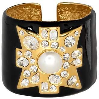 Kenneth Jay Lane Black Maltese Cross Cuff