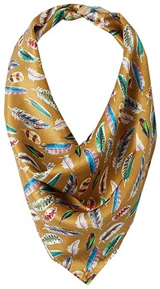 M&F Western 21x21 Wild Rags Silk Patterned Scarf Bandana (Gold Feather) Scarves