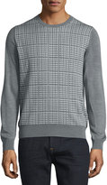 Brioni Crewneck Check Pullover, Black/Gray Solid