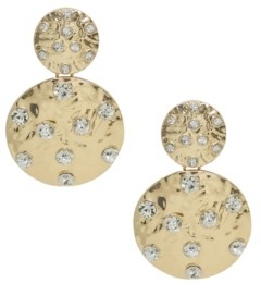 Ettika Double Crystal Studded Disc Earrings