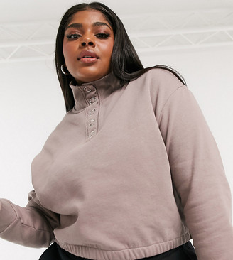 Collusion Plus Exclusive funnel neck popper sweat top in mocha