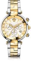 Versace Revive Chrono Stainless Steel and PVD Gold Plated Women's Watch w/White Mother of Pearl Dial