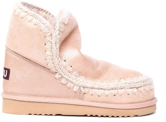 Mou Light Pink Eskimo 18 Leather Ankle Boots