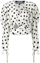 Jacquemus Polka Dot Top with Oversized Sleeves - women - Silk/Viscose - 40