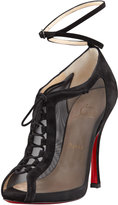 Christian Louboutin Abbesses Mesh Peep-Toe Red Sole Bootie, Black
