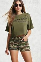 Forever 21 High-Waist Camo Denim Shorts