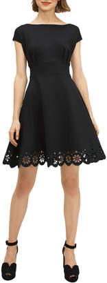 Kate Spade fiorella cap-sleeve eyelet ponte dress