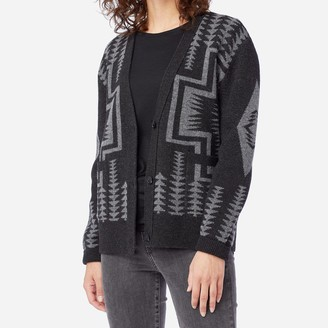 Pendleton Womens Harding Lambswool Cardigan Black Grey - S