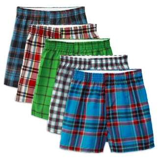 Fruit of the Loom Boys Underwear, 5 Pack Tartan Plaid Woven Boxer (Big Boys)