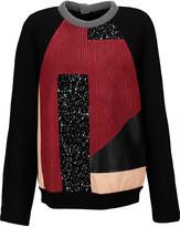 Proenza Schouler Paneled printed crepe, leather and neoprene sweatshirt