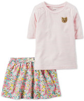 Carter's 2-Pc. Striped Shirt & Floral Skirt Set, Toddler Girls (2T-4T)