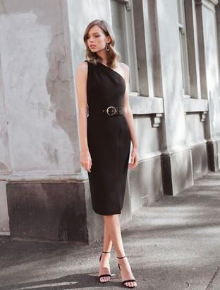 Ever New Joelle One-Shoulder Belted Midi Dress