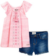 Hudson Embroidered Top & Denim Short 2-Piece Set (Toddler Girls)