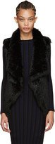 Yves Salomon Black Knit Fur Vest