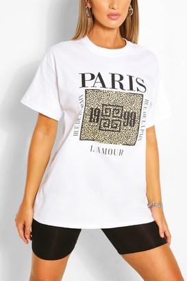 boohoo Paris Animal Block Print T- Shirt
