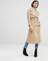 Asos Midi Trench with Oversized Collar and Stitch Detail