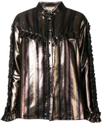 Black Coral ruffle detail blouse