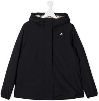 K Way Kids TEEN logo patch hooded jacket