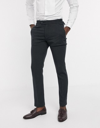 ASOS DESIGN skinny suit pants in wool mix houndstooth in khaki