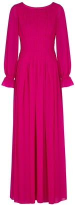 Paule Ka Fuchsia pleated chiffon gown