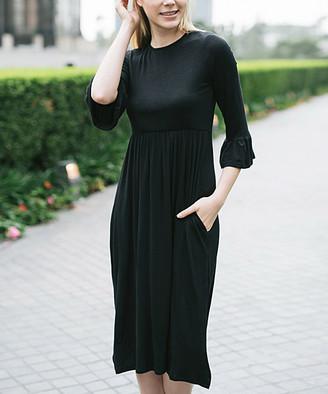 Jardin by Macris Women's Casual Dresses Black - Black Side-Pocket Empire-Waist Midi Dress - Women