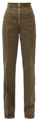 No.21 No. 21 - High-rise Cotton-blend Gabardine Trousers - Khaki