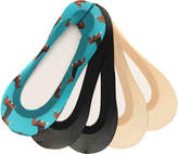 Me Moi Women's Fine Edge Dog No Show Liners - 5 Pack -Turquoise/Black/Nude