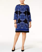 INC International Concepts Plus Size Printed Shift Dress, Created for Macy's