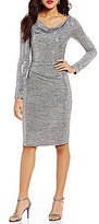 Jessica Howard Cowl Neck Sequined Knit Sheath Dress