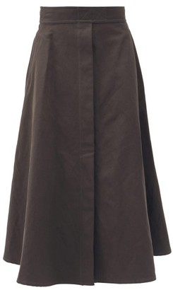 Lemaire High-rise Linen-blend Canvas Midi Skirt - Dark Grey