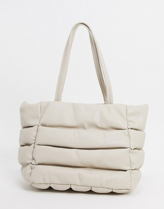 ASOS DESIGN puffed quilted tote bag in off white