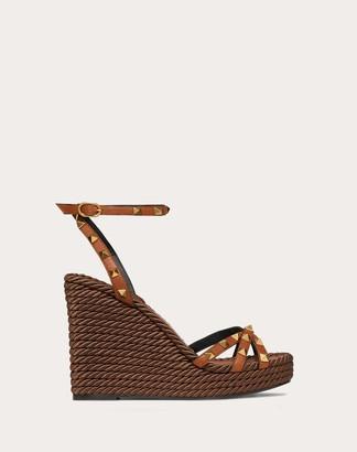 Valentino Garavani Rockstud Cowhide Ankle Strap Wedge Sandal 95 Mm Women Tan 100% Pelle Bovina - Bos Taurus 38