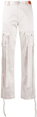 Heron Preston high-rise metallic-sheen trousers