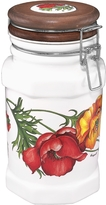 Spigarelli Poppy Airtight Seal Ceramic and Wood Canister