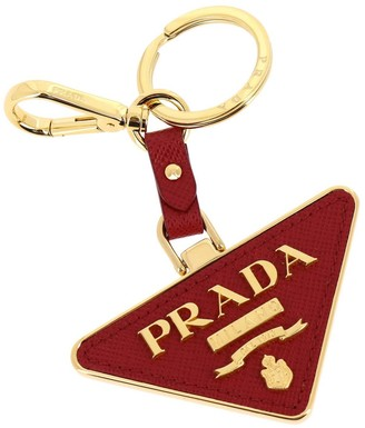 Prada Triangular Key Ring In Metal And Saffiano Leather