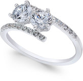 Charter Club Silver-Tone Two Stone and Pavé Crystal Bypass Ring, Only at Macy's