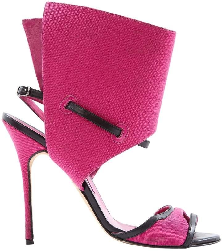 Manolo Blahnik Pink Cloth Sandals