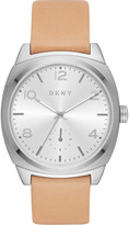 DKNY Broome Stainless Steel and Beige Vachetta Leather Watch